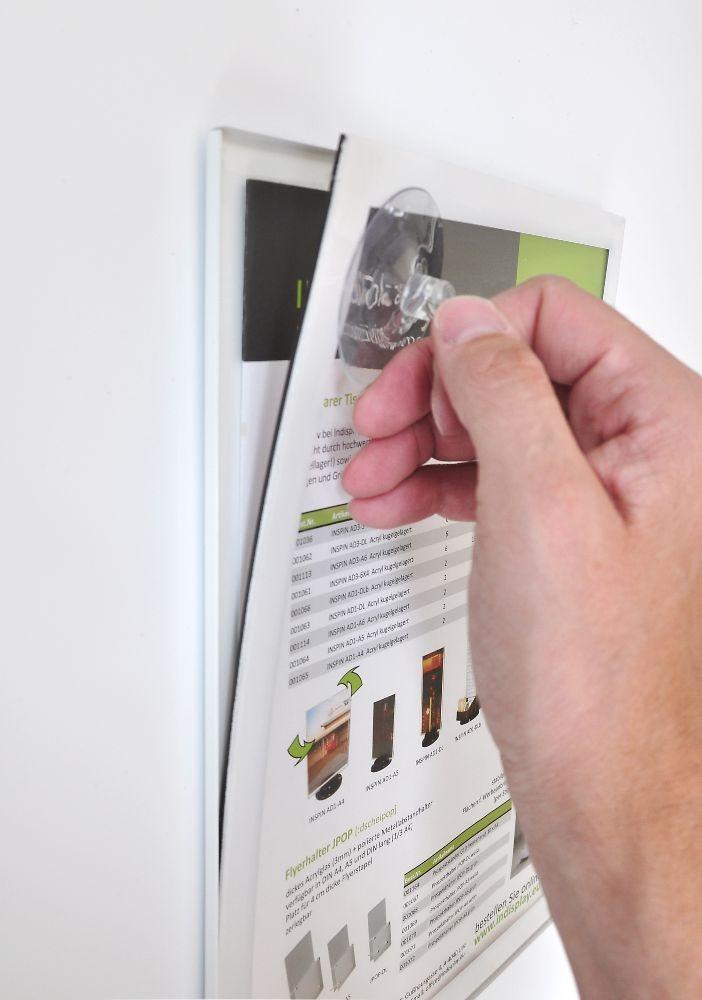 A2 Plakatrahmen aus Stahl weiß mit Magnetverschluß