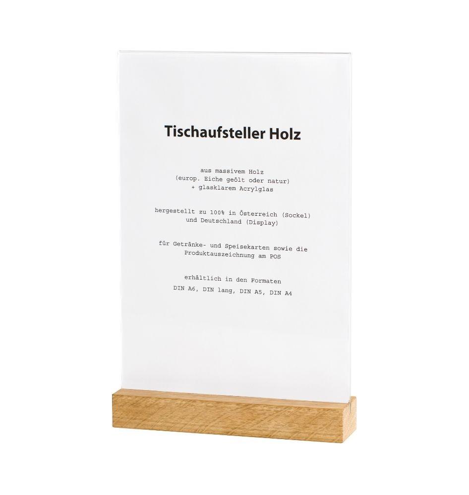 Holz-Tischaufsteller DIN A4 für Menükarten und Getränkekarten