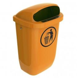 Abfalleimer 50l orange DIN-PK HDPE