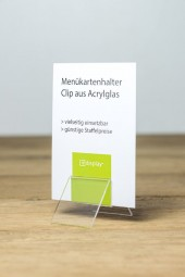 Menükartenhalter Clip Acrylglas 50 mm