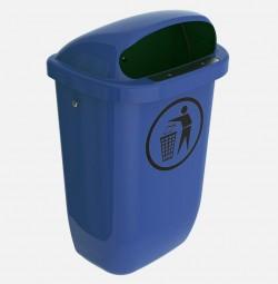 Abfalleimer 50l blau DIN-PK HDPE