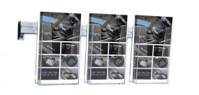 Wandprospekthalter SLOPE 3 x DL mit Wandschiene
