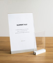exklusive Tischaufsteller aus Aluminium